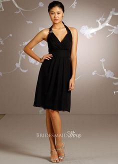 halter v-neckline black chiffon knee length bridesmaid dress $159