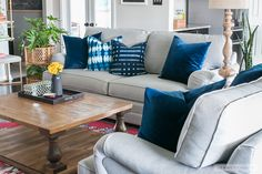 Add a mix of throw pillows to liven up your living room