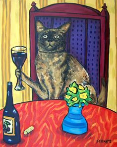 Burmese Cat at the Wine bar signed art print. Print is a giclee meaning computer generated print Made with the Finest archival Heavyweight Matte Paper and Inks.