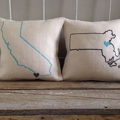 Burlap Pillow Custom City State design Choose by TwoPeachesDesign