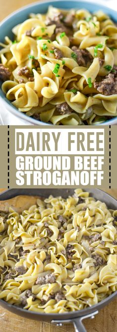 Dairy Free Ground Beef Stroganoff This ground beef stroganoff gives you the flavors of traditional stroganoff without the heavy sour cream or milk Plus the ground beef m. Ground Beef Stroganoff, Hamburger Stroganoff, Ground Beef Recipes For Dinner, Dinner Recipes, Easy Recipes, Healthy Recipes, Dairy Free Hamburger Recipes, Dairy Free Recipes Ground Beef, Pasta Recipes Dairy Free