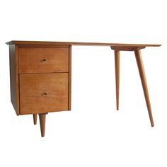 View this item and discover similar for sale at - wonderful two drawer maple wood desk by Paul McCobb Planner Group for Winchendon, original brass hardware, labeled