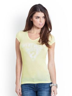GUESS Short-Sleeve Authentic GUESS Tee, PASTEL LEMON PEEL (SMALL)