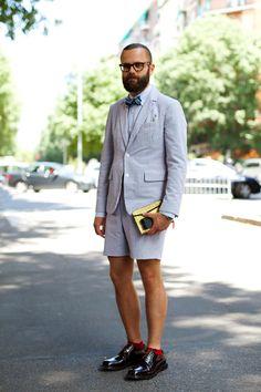 Pale Blue Seersucker Short Suit, Urban Street Style, Men's Spring Summer Fashion.