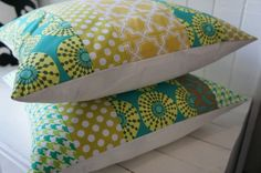 set of patchwork pillow cases 20x20, green/teal. $64.00, via Etsy.