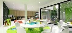 Minimalist Kindergarten Design with Modern Architecture and Interior.