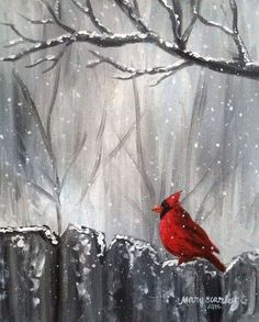 Cardinal on Fence, Winter Scene, Cardinal in Snow, Cardinal Painting. by robyn