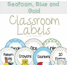 I am in love with these colors and patterns!  Create an organized classroom with this set of labels in seafood green, blue, and gold with polkadots, chevron and quatrefoil galore!  Set includes:Math Manipulative LabelsClassroom Supply LabelsBoth come in e