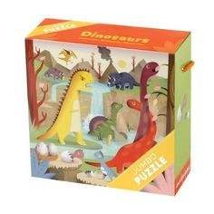 "Dinosaurs Jumbo Puzzle by Mudpuppy. $8.99. Printed with nontoxic, soy-based inks. Puzzle measures 22"" square (56 cm). Puzzle greyboard contains 90% recycled paper. 25 jumbo pieces. Sturdy 9"" x 9"" x 3-1/2"" box with a colorful rope handle. From the Manufacturer                Jumbo Puzzles are a fun way to work on hand and eye coordination and to have fun together. How many more baby dinosaurs will hatch? Do you see a volcano?                                    Product Descr..."