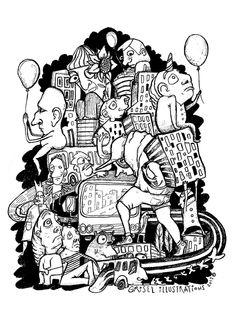 GOOMIES #goomies #drawing #illustration #creatures #balloons #people #men #dwarfs #cities #buildings #urban #urbanart #black&white #pencil #ink #biropenart #art #griselmiranda