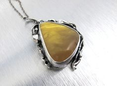 Sterling Brutalist Amber Necklace Pendant by TonettesTreasures