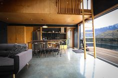 Queenstown Architects Designers: Holmes Architecture - Award winning, architecturally designed, compact home in Queenstown, NZ. Call us now to design your dream home Architecture Awards, Residential Architecture, Architecture Design, Finished Concrete Floors, Hall Interior, Design Your Dream House, Loft Spaces, Floor Design, Home Staging