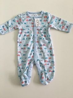 599a4f9a97614 NWT The Children's Place Baby Boys Blue Layette Sleep and Play size 0-3 m