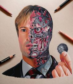 Fan art drawing of Harvey Dent aka Two-Face from Batman movie done by artist Borja Burgueño Moreno from Madrid, Spain Realistic Drawings, Cartoon Drawings, Pencil Drawings, Art Drawings, Prismacolor Drawings, Batman Artwork, Dc Comics Art, Batman Universe, Two Faces