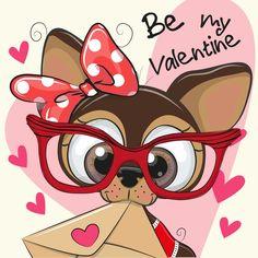 Valentine card with cute cartoon Puppy holding envelope Disney Drawings, Cute Drawings, Online Pet Supplies, Love Valentines, Illustrations, Dog Art, Cute Cartoon, Cute Wallpapers, Cute Art