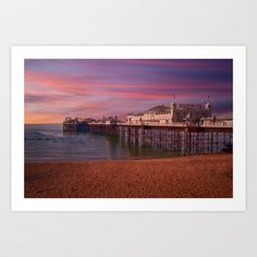 Brighton Pier Sunrise Art Print by Alice Gosling - $20.00 Available as print, canvas or framed, with a choice of frame color #walldecor #print #canvas #wallart #Brighton #Pier #UK #England #Ocean #Beach #Sea