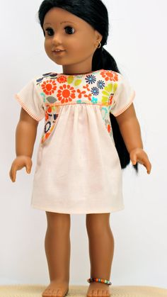 Be cool and have fun in this updated version of the hand embroidered Mexican peasant blouse! This version is made from quality muslin fabric American Doll Clothes, Ag Doll Clothes, Diy Clothes, Journey Girls, Contemporary Dresses, Muslin Fabric, Peasant Blouse, Girl Costumes, Doll Patterns