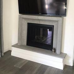 Fireplace Mantel Surrounds, Stone Fireplace Mantel, Concrete Fireplace, Rustic Fireplaces, Home Fireplace, Fireplace Design, Prefab Fireplace, Fireplace Ideas, Mantle
