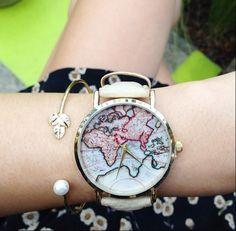 Nero Bianco Orologio da polso,Mappa Watches di missyouparty su DaWanda.com