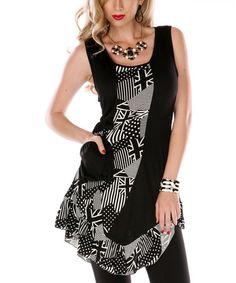 This Black & White Patchwork Sleeveless Top by Aster is perfect!