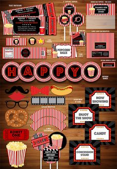 Printable Movie Night Birthday Party Package Decorations | Movie Ticket Birthday Invitation | Movie Under the Stars | Fundraiser Event | Kids Party | Family Movie Night Party | Outdoor Movie | Theater | Popcorn Box | DIY | Digital File | Banner | Cupcake Toppers | Signs | Food Labels | Favor Tags | Water Bottle Labels | www.dazzleexpress...