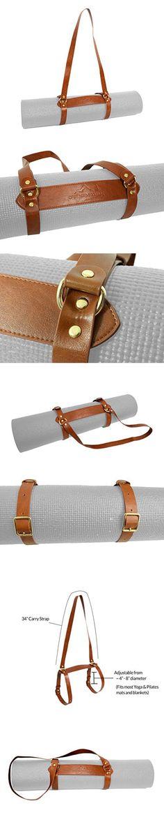 Vegan Leather Yoga Mat Carrier Sling / Adjustable Blanket Strap