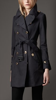Mid-Length Cotton Gabardine Revere Collar Trench Coat | Burberry