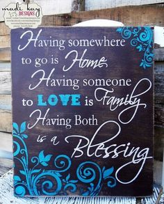 Love these signs!!  Having Family is a Blessing,Family Sign,Friendship Sign, Vintage Sign, Rustic Sign, Family Sign 10x12 - distressed on Etsy, $54.99 by theresa