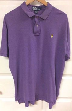 Polo By Ralph Lauren 100% Cotton Solid Purple Polo Shirt Size Large Yellow Logo #PolobyRalphLauren #PoloRugby