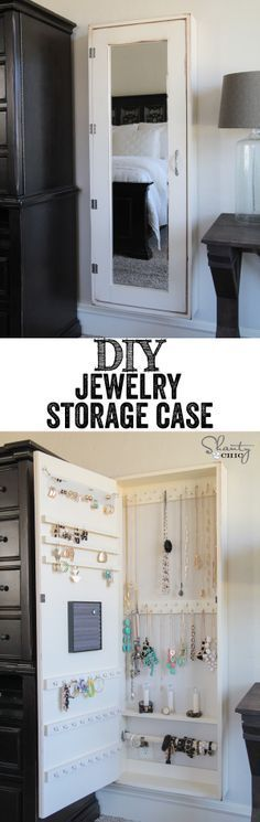 Slides behind armoire - DIY Jewelry Storage Case. Keep your bling untangled and well displayed with these brilliant DIY framed mirror with hidden storage case. Wall Organization, Jewelry Organization, Storage Organizers, Diy Jewelry Organizer Wall, Jewelry Holder Wall, Jewely Organizer, Diy Organizer, Shanty 2 Chic, Ideas Para Organizar