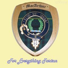 Clan MacArthur Tartan Woodcarver Wooden Wall Plaque MacArthur Crest 7 x 8