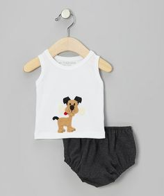 Take a look at this White Dog Tank & Charcoal Diaper Cover - Infant by Victoria Kids on #zulily today!