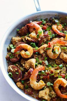 Skinny One Pot Quinoa Jambalaya - So easy!   cookingforkeeps.com #skinny#onepot
