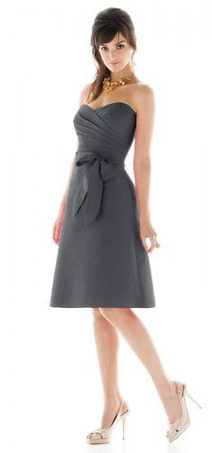 Strapless Sweetheart Pleated Short Grey Bridesmaid Dress (G134)