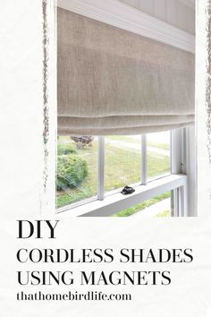 How to Make Cordless Fabric Shades Using Magnets: One Room Challenge Week Five Diy Window Blinds, Fabric Window Shades, Diy Curtains, Blinds For Windows, Curtains With Blinds, Valances, Roman Blinds, Cordless Roman Shades, Diy Roman Shades