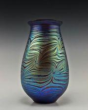 Bohemian Art Deco Glass Vase Iridescent Czech Glass