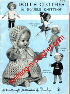 Beautiful free doll clothes patterns for 16 - 20 and 24 inch dolls Barbie Knitting Patterns, Knitting Dolls Clothes, Crochet Dolls Free Patterns, Baby Doll Clothes, Crochet Doll Clothes, Knitted Dolls, Doll Clothes Patterns, Baby Patterns, Barbie Clothes