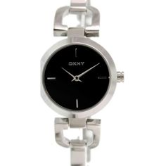 DKNY Women's D-Link NY8541 Stainless Steel Analog Quartz Watch with... ($80) ❤ liked on Polyvore featuring jewelry, watches, quartz watches, dkny, dial watches, dkny jewelry and black dial watches