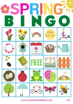 Spring Crafts For Kids, Spring Theme For Preschool, Spring Crafts For Preschoolers, Activities For Preschoolers, Preschool Themes, Preschool Crafts, Kindergarten Activities, Classroom Activities, Bingo For Kids