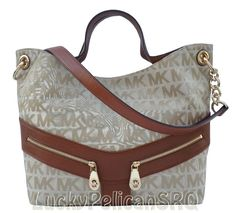 Michael Kors JAMESPORT MK Signature Jacquard Shoulder Tote Bag Beige Luggage NWT