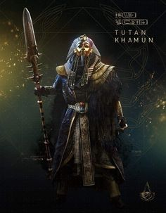 "Many fans usually emphasize King Tut with qualifiers such as ""the boy king"". Assassins Creed Series, Assassins Creed Origins, Egyptian Kings, Egyptian Art, Amon, Fantasy Character Design, Character Art, Asesins Creed, Egyptian Drawings"