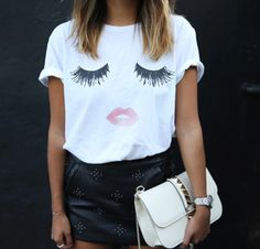t-shirt for women with the eyelashes and lips for makeup addicts.