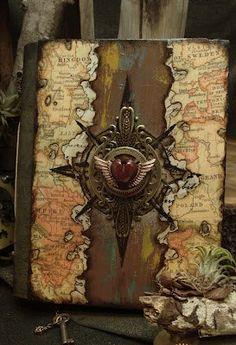 Altered Alchemy : when 2 creative souls come together . Handmade Journals, Handmade Books, Handmade Notebook, Handmade Rugs, Handmade Crafts, Journal Covers, Book Journal, Mini Scrapbook Albums, Mini Albums