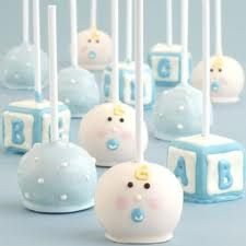 Cute cake pops for a baby boy shower.