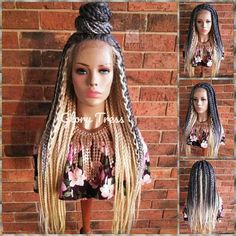 Box braids in braided bun Tied to the front of the head, the braids form a voluminous chignon perfect for an evening look. Box braids in side hair Placed on the shoulder… Continue Reading → Large Box Braids, Short Box Braids, Blonde Box Braids, Blonde Wig, Ethnic Hairstyles, Box Braids Hairstyles, Elegant Hairstyles, Box Braid Wig, Braids Wig