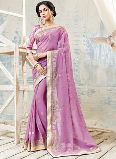 Pleasance Violet Color Georgette Saree