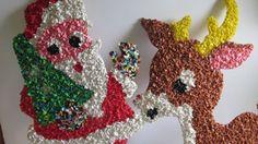 Rudolph Reindeer Melted Plastic Popcorn Oatmeal by ReVintageLannie #rudolph #santaclause #plasticpopcorn #70sChristmasdecor #etsyfinds #vintagechristmasdecor #70schristmas #bohochristmas