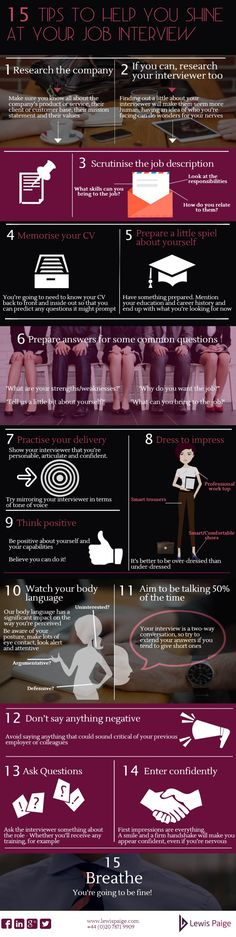 15 tips to help you shine at your job Interview --shared by redalien on Sep 10, 2014 - See more at: http://visual.ly/15-tips-help-you-shine-your-job-interview#sthash.mAlnscgf.dpuf