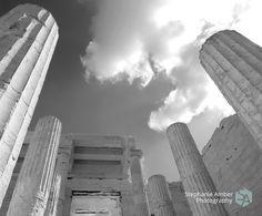Stephanie Amber Portfolio: Photography Blog #blackandwhite #columns #greece #ruins #ancient #sky #athens #acropolis #parthenon #photography #photographer