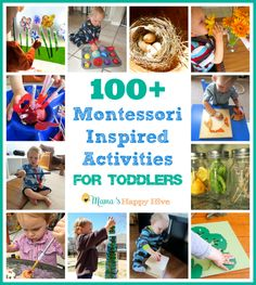 This is a collection of over 100 Montessori Inspired Activities for Toddlers. This is a years worth of fun hands-on play ideas for 1-2 year olds.